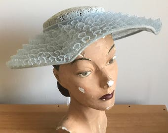 Baby Blue 1940s/50s Wide Brimmed, Slightly Fluted Lace Ruffle Hat with Velvet Ribbon Band by Clover Lane