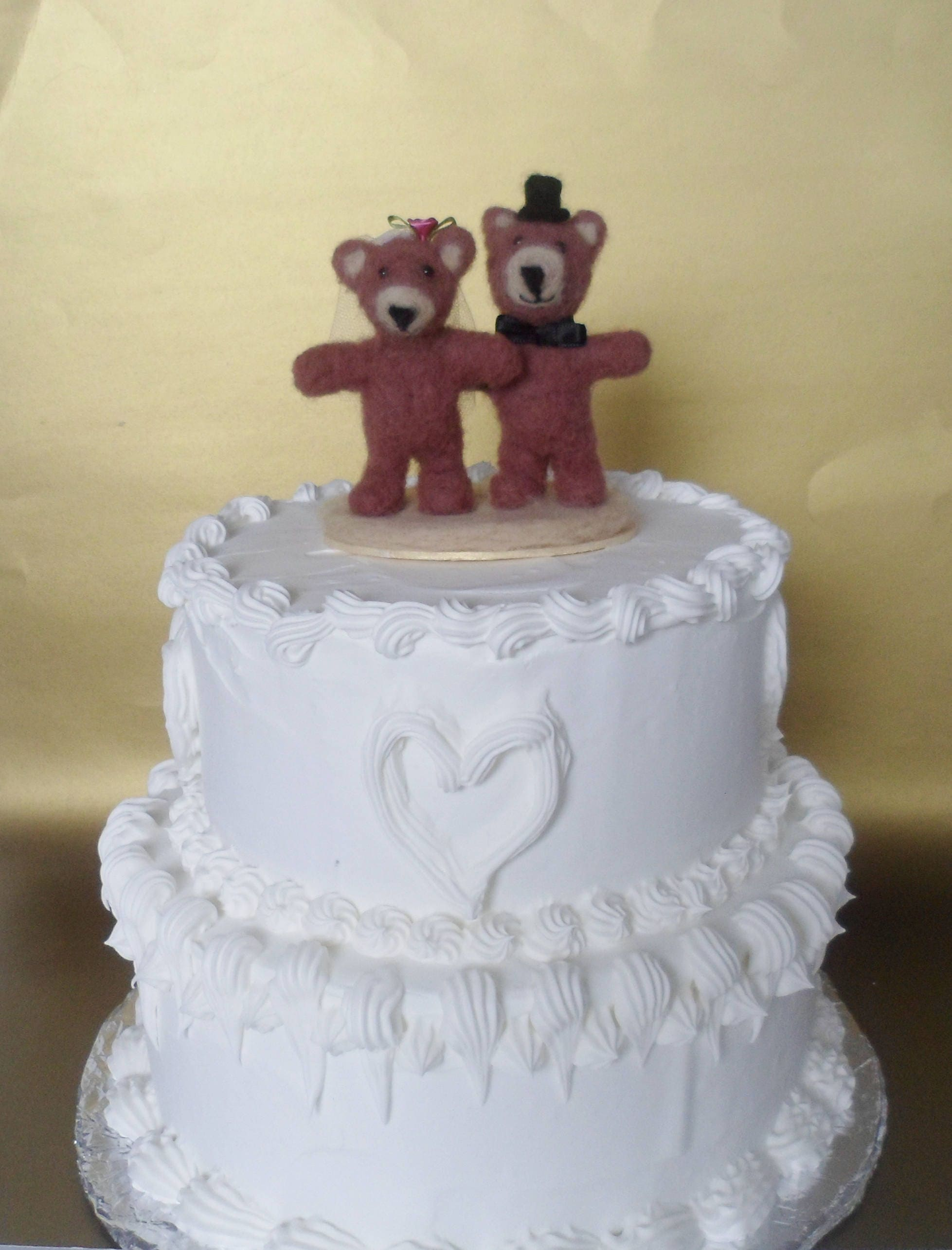 Teddy Bear Wedding Cake Topper Needle Felted