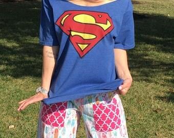 Women's Blue Superman Off The Shoulder Tee Top Shirt  Large