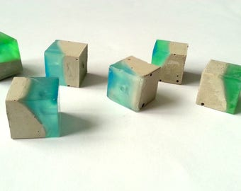 Concrete Beads 16mm, Set of 6 Hand casting beads, Concrete & Resin, Do it Yourself Goncrete Necklace, Geometric Jewelry