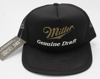 Vintage MILLER Genuine Draft Trucker Hat Snapback Designer Pro tag Beer Alcohol Drinking Headwear