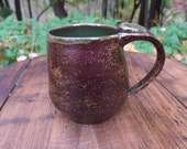 Small Brown and Green Mug with Thumbrest- Handmade, Ceramic