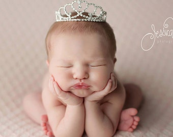 Newborn Crown, Photo Prop, Tiara, baby crown, photography prop, crystal crown, princess crown, baby shower gift - Sweetheart