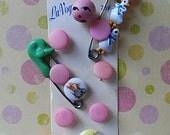 Vintage Baby ~.~  Seafoam Ducky Diaper Pin ~ Beatrix Potter Buttons
