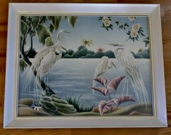 Gorgeous Turner Lithograph Mid Century Vintage Art White Egrets Island Themed Print Signed Turner Print