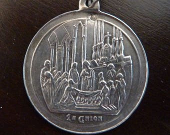 Antique  silver 800 French Religious First Communion Medal old Pendant Vintage jewelry N/2