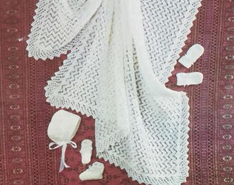 UK/EU SELLER Vintage pdf knitting instructions Heirloom Shawl in quickerknit, herrringbone lacy pattern. Matching bonnet, mitts & bootees.