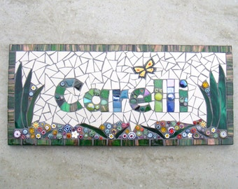 Mosaic House Name, number, door plate, door name, house name, street sign, yard art, outdoor, plaque, sign, bespoke, made to order, custom,