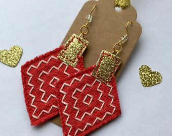 Statement red and gold geometric earrings