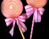 Fake Lollipop Whimsical Decoration set of 2 Pink and Yellow Lollipop Wand Costume Accessory Pink Lemonade