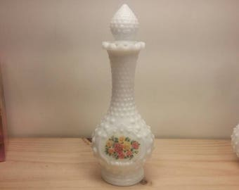 """Collectible AVON Hobnail Bud Vase """"TOPAZE"""" Collection 4.75oz Milk Glass Cologne Bottle with Stopper"""