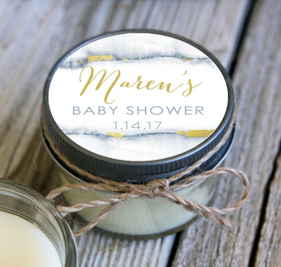 Set of 12 - 4 oz SoyCandle Favor//Watercolor//Girl Baby Shower//Boy Baby Shower//Blue Baby Shower//Gold Baby Shower