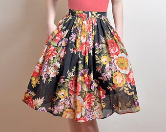 BLACK FLORAL Skirt, Midi Cotton Skirt With Pockets