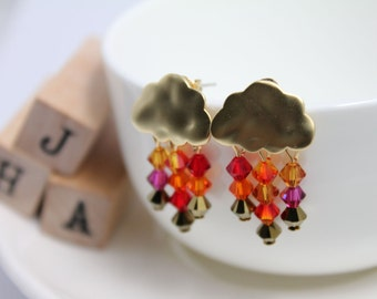 Swarovski crystals Small clouds of rain earrings - Heat Wave