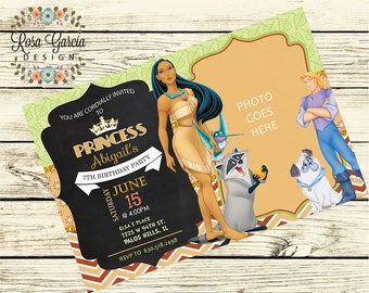POCAHONTAS BIRTHDAY INVITATION - Birthday Party Invitation - Digital File - Fully Customized - Pocahontas - Birthday Digital File