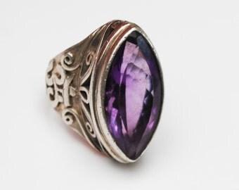 Amethyst Sterling  Ring - size 5 - Silver filigree - Purple gemstone - Large chunky boho ring
