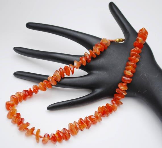 Polished Carnelian Nugget  Necklace - Orange gemstone beads -  collar necklace