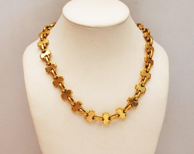 Gold Volupte link necklace - gold plated - clover leaf design - collar necklace