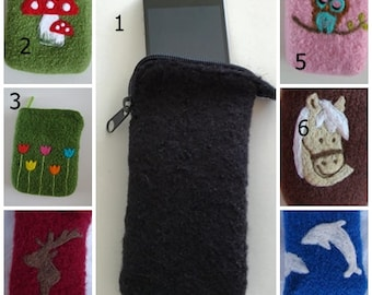 Mobile phone pocket with any motif, with zipper