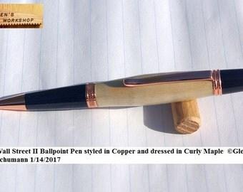 Ballpoint Pen Handmade Parker Pen Bright Copper Twist Pen Curly Maple Wall Street Pen