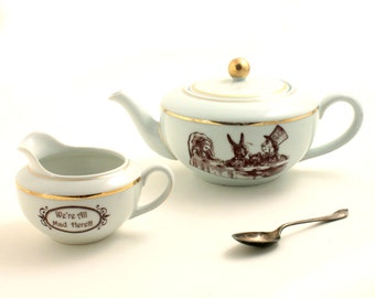 Tea Set Alice in Wonderland Altered  Vintage Teapot Creamer Unique Porcelain Geeky Whimsical Gift Wedding Whimsy Tea Party All Mad Here