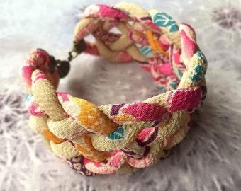 Chirimen cord knot bracelet / fabric cord jewelry-Bangle -Pink Beige/japanese kimono