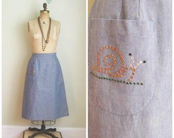 1970's Denim Chambray A line Skirt// Bejeweled// Snail// Pocket// Size Medium