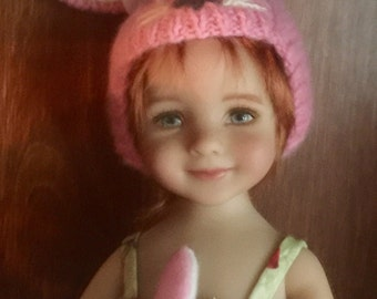 Cashmere pink Bunny hat for Little Darling by Dianne Effner
