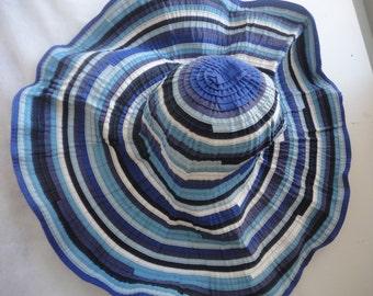 Vintage Blue Filippo Catarzi Large Sun Hat, Foldable Filippo Catarzi Stripped Blue Hat, Vibrant Blue Large Filippo Sun Hat with Visor, Beach