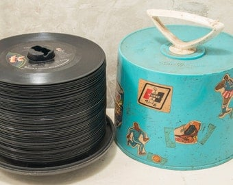 1960s, and 70s, 45 rpm records in Disc-Go case, embellished /w period stickers