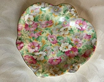 Vintage Ridgway Poppies Pattern Floral Chintz Dish