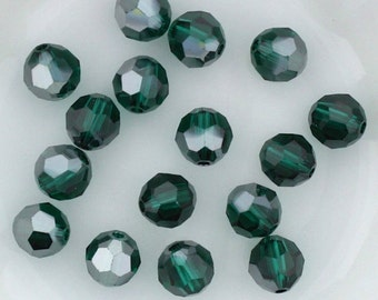 12+  Swarovski EMERALD SATIN 6mm and/or 8mm Round Crystals Article 5000, New from Box, All Satins were Discontinued 2012-2015