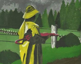 "Original acrylic painting print - ""Yellow Raincoat"""