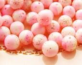 Vintage Retro Chic 6mm Round Pink & White Gold Glitter Bead Opaque Plastic - 20