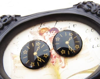 Vintage Black & Gold Clock Watch Face Cabochon 24mm Intaglio Cameo Round Glass – 2