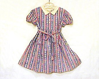 Vintage Hand Made Little Girls Dress - Hand Sewn Cotton Floral Stripes - Patty PlayPal Size - maybe Feedsack Fabric - Gathered Pockets, Belt