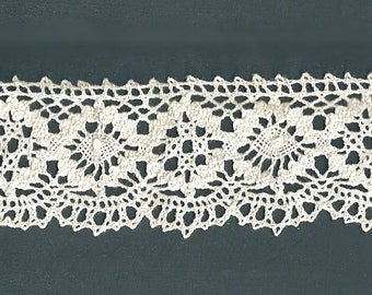 "Vintage Crochet Lace Trim - 2"" wide - 50"" long - Hand Made Ecru Pale Ivory Cotton Border Lace - Two Designs - 2 1/2"" repeats"