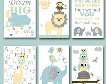Yellow Grey Blue Mint Elephant Giraffe Turtle Lion Canvas Print Baby Boy Nursery Quotes Nursery Decor Nursery Art Nursery Wall Art set of 6