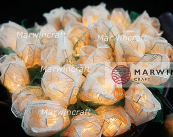 SALE 2 Sets of 35 White Rose Flower Fairy String Lights Romantic Cute Baby Party Patio Wedding Floor Table Hanging Gift Home Decor Living
