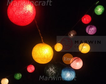 20 Cotton Balls Mixed Mix Tone Fairy String Lights Party Patio Wedding Floor Table or Wall Hanging Gift Home Decor Christmas Bedroom