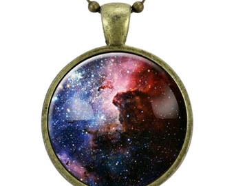 Carina Nebula Necklace, Galaxy Science Jewelry, Universe Space Pendant (1168B25MMBC)