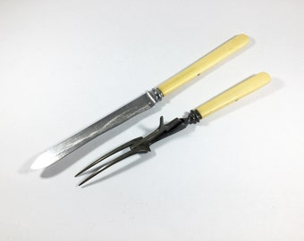 Antique carving set Carving knife and fork Elkington stainless steel Celluloid handles