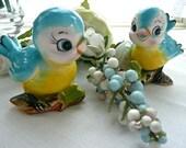Lefton Blue Birds Shakers - Retro - Salt and Pepper Shakers - Blue Bird Shakers - Lefton Birds - Kitchen Decor - Bird Figurine - Collectible