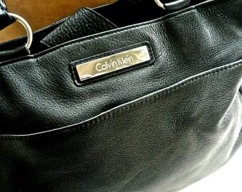 Black Purse - Leather Bag - Calvin Klein Bag -Dual Bucket Handles -Soft Supple Leather - Multi Pocket - Vintage Shoulder Bag -Urban Hipster