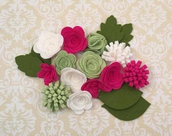 Handmade Wool Felt Flowers, Fuchsia, White and Pistachio
