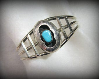 Vintage NAVAJO SHADOWBOW Cuff Bracelet -- Sterling with Turquoise, 16.2g, Best for Small Wrist, Signed