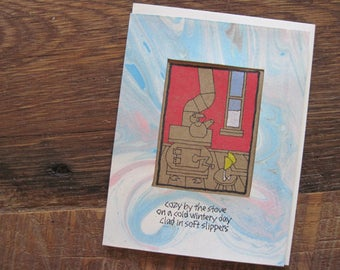 Cozy by the Stove -- ORIGINAL hand-drawn card, winter-themed, blank inside, yellow slippers, haiku, suminagashi  (#WTR003)