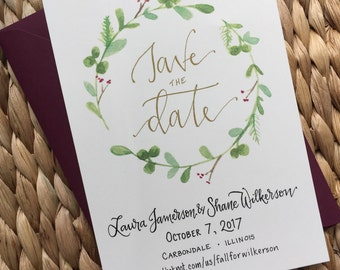 Classic Save the Date ~ greenery Wreath Save the Date ~ Timeless Wedding Save the Date Announcement ~ Simple Wedding Invitation Suite ~ gold