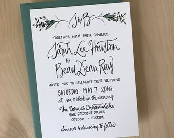 Garden Wedding Invitation / Greenery Wedding Invitation / Romantic Wedding Invitation / Calligraphy Custom Wedding Invitation