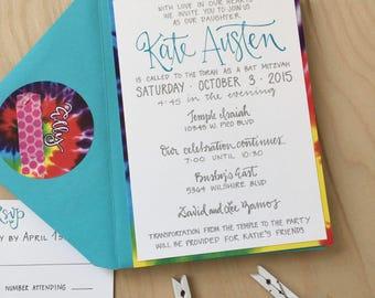 Tie Dye Bat Mitzvah Invitation / Tie Dye Bar Mitzvah Invitation / Fun Bat Mitzvah Invitation / Unique Bat Mitzvah Invite / Mitzvah Invite